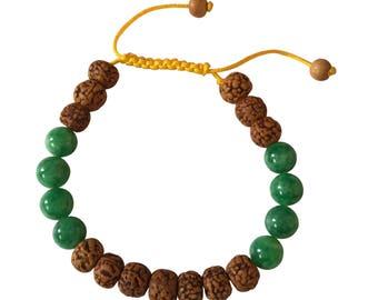 Tibetan Mala Rudraksha and Green Jade Wrist Mala Yoga Bracelet for Meditation