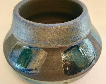 Raku Wheel Thrown Pottery Vase with Green & Blue Glazes