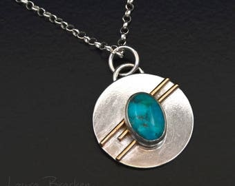 Sterling Silver Modernist Pendant Necklace with 14k Gold Fill Accents and Turquoise