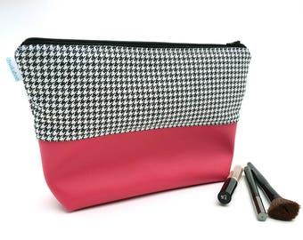 Houndstooth Bag - Makeup Pouch - Birthday Gift for Teen Girl - Vinyl Makeup Bag - Makeup Holder - Pink Cosmetic Bag - Zipper Pouch