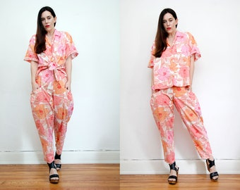 Vintage Floral Cotton Blouse and Trousers Co ord