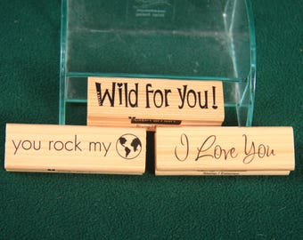 Lot of 3  Craftsmart Rubber  stamps  I love you ,wild for you ,yourock my world
