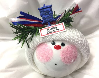 ASIAN Souvenir Christmas Ornament Korea Sample Lantern Blue Handmade Personalized Themed Townsend Custom Gifts (F) 504