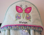 hooded towel butterfly pink and green infant toddler child girl gift personalized many colors