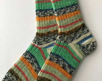 "Women's Wool Socks  ""Opal Rendezvous"" Hand Cranked"