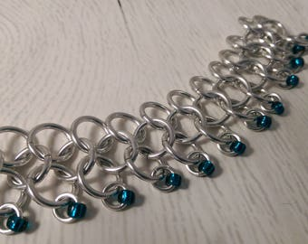 Four in One Chainmaille Bracelet - Silver with blue beads
