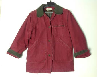 LL Bean Womens Chore Jacket  Barn Coat  Vintage 80s Jacket  Size S Womens Coat  Red Coat   Womens Red Jacket  Womens Lined Fall Jacket
