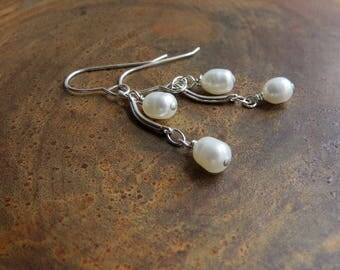 RESERVED. freshwater pearl silver earrings. SEA SPELL. short earrings. beach bum earrings. June birthstone earrings. summer earrings. sassy.
