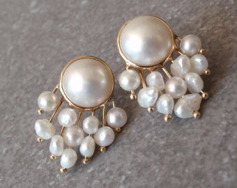 14K Pearl Earrings Mabe Rice Yellow Gold Pierced Vintage 050216RV