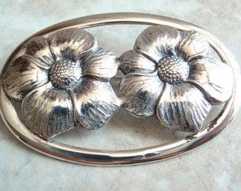 Floral Brooch Sterling Silver Double Flower Oval Shape Vintage 130508