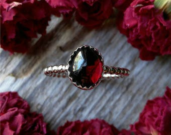 Garnet Ring Size 9 Sterling Silver Red Stone Gemstone 925 Jewelry January Birthstone