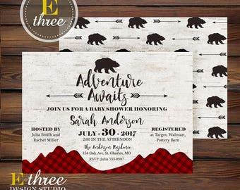 Rustic Plaid Shower Invitation - Adventure Awaits Baby Boy Shower Invitation - Mountains, Bear, Wood, Arrows Woodland Shower Invite