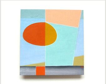 modern art - blue sky painting, original gouache wall art, colourful 6 x 6