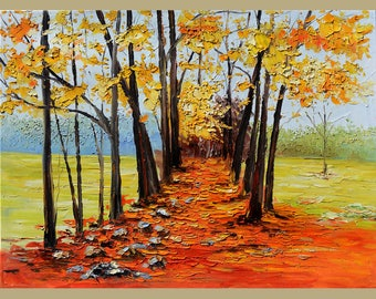 ORIGINAL Oil Painting Park Alley Old Path  Palette knife Textured Orange Green Yellow Blue  Purple Handmade Art by Marchella