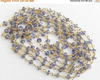 ON SALE 55% Tanzanite Plain Rondelle Beads Connector Chains in 925 Silver Gold Plate Wire Wrapped Rosary Style Chain, By Foot - KS3341