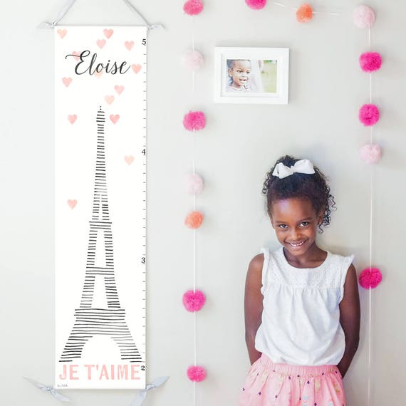 Personalized Eiffel tower canvas growth chart in black, white, and pink