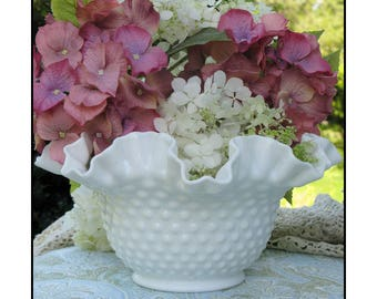 Fenton Hobnail Milk Glass Bowl/ Wedding Centerpiece / Fenton Milk Glass