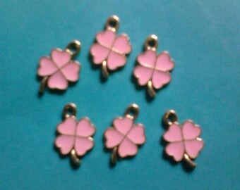 Kawaii small four leaf clover zinc alloy pink with gold charm for bracelet necklace making 6 pcs---- USA sellee