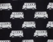 ON SALE SPECIAL--Taupe and White on Black Vintage Van Print Pure Cotton Fabric--One Yard