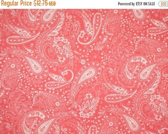ON SALE Coral Pink and White Paisley Print Stretch Cotton Twill Fabric--One Yard