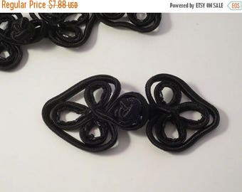 ON SALE Large Black Frog Closure with Bugle Beads--One Piece