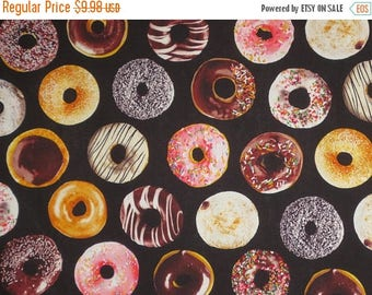 ON SALE Iced Donuts on Black Print Pure Cotton Fabric--By the Yard