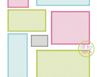 Rectangle Motif Embroidery Set for machine embroidery, fonts NOT included, INSTANT DOWNLOAD