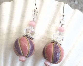 Fancy Dangle Earrings Silver Filled Golem Design Ceramic Beads Clear Crystals Catseye Pastel Pink Lavender Purple Girly Party Jewelry 2in