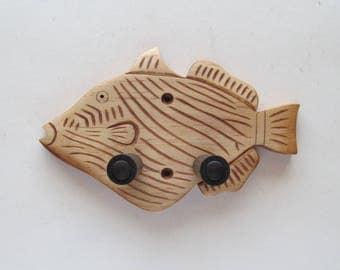 Unique hand carved ukulele wall mount hanger, trigger fish