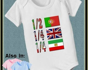 FLASH SALE short sleeve and long sleeve 1/2 Portuguese half 1/4 English 1/4 Persian baby infant bodysuit baby bodysuit, baby shower gift