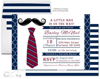 Baby Shower Invitation Boy - Boys Baby Shower Invitation - Little Man Baby Shower - Bow Tie Invitation - Mustache Bash - Boys Baby Sprinkle