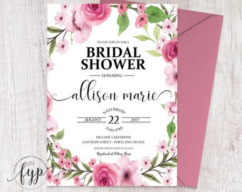 Bridal Shower Invitation, Bridal Shower Invite, Wedding Shower Invitation, Floral Shower Invite, Floral Shower Invitation, Bridal Invite