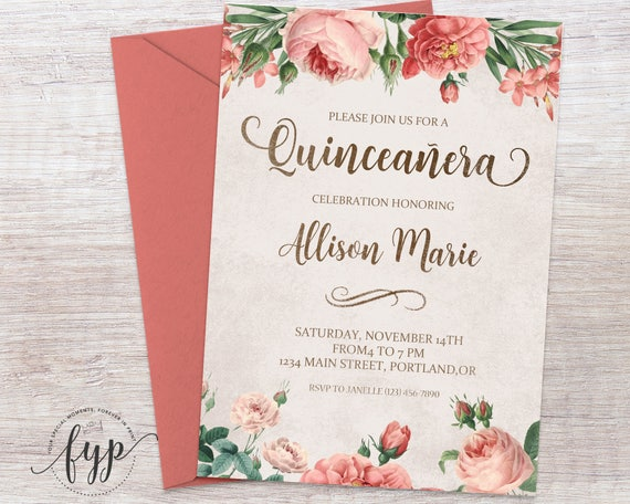 Floral Quinceaera Invitation Invite Girls 15th
