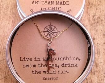 Mermaid Charm, Pendant Necklace
