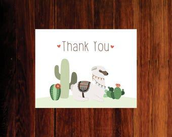 Llama Thank you card, Fiesta thank you, Thank you card - set of 15