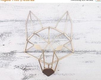 ON SALE Fox~Geometric Fox Head~Gold Geometric Art~Fox Head~Metal Fox Art~Modern~Minimalist~Fox Wall Art~Fox Wall Decor