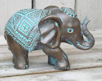 Elephant Decor~Patina ~Decorative Elephant Figurine~Elephant  Sculpture~Bronze~Bohemian