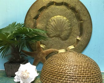 Large Vintage Brass Peacock Tray Round Mid Century Wall Hanging Decor Boho CastawaysHall READY TO SHIP