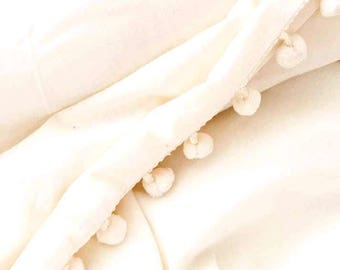 Ivory Cotton Pom Pom Duvet Cover with Matching Pom Pom Shams - QUEEN SALE ITEM!