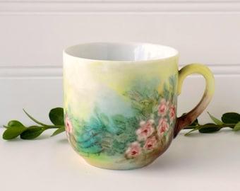 Hand Painted Floral Tea Cup. Decorative China. Tea Party Decor. Table Accent. Flower Vase. Vintage Housewares. Shabby Cottage Chic.