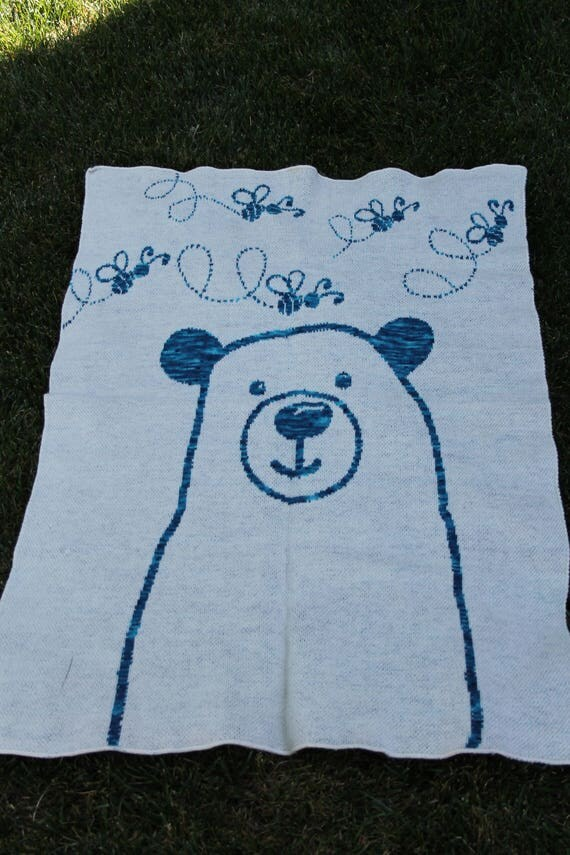 Baby Blanket or Lap Throw - Bear Design - Merino/Silk Spun in the USA by Spinderellas Creations - Hand dyed Homespun Yarns- Nursery- Kids