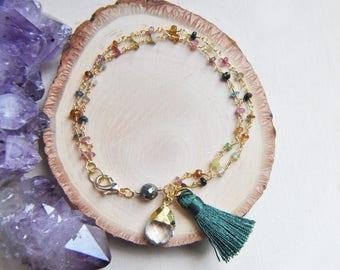 Tourmaline Earrings, Tourmaline Bracelet, Rainbow Tourmaline, Tassel Earrings, Tassel Bracelet, Green Jewelry, Green Tassel, Quartz Bracelet