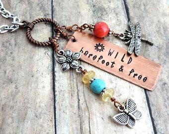 Long Charm Necklace - Wild Barefoot & Free - Boho Necklace - Butterfly Necklace - Dragonfly Necklace - Summer Jewelry - Stamped Jewelry