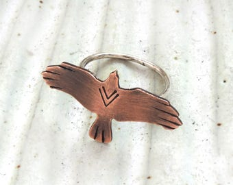Rustic Bird Ring - Flying Bird - Soaring Bird - Eagle Ring - Raven Ring - Wings Spread - Nature Jewelry - Nature Ring