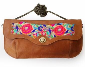 Caramel brown handbag with floral Leather embroidered purse, Floral evening bag