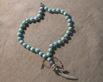 tassel necklace jewelry with antler boho tribal exotic ready to ship