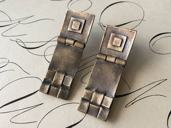 Bronze Earrings | Geometric Jewelry | Arts and Crafts Mission Style