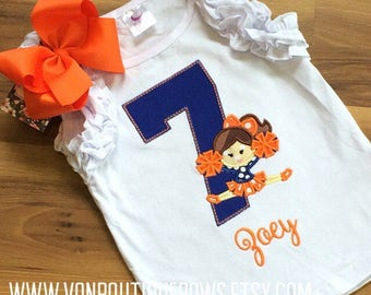 Cheerleader blue orange polka dot bow Personalized Number Birthday Boutique First 1st 2T 3 4 5 6 8 Girls Applique Short Long Sleeve Tank