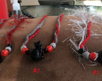 Very Cute Cat Necklace  Red Black Gray White