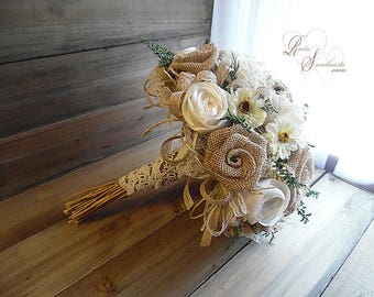 Will ship in 4 weeks ~ Large Rustic Daisy, Burlap and Ivory Sola Flower Bridal Bouquet